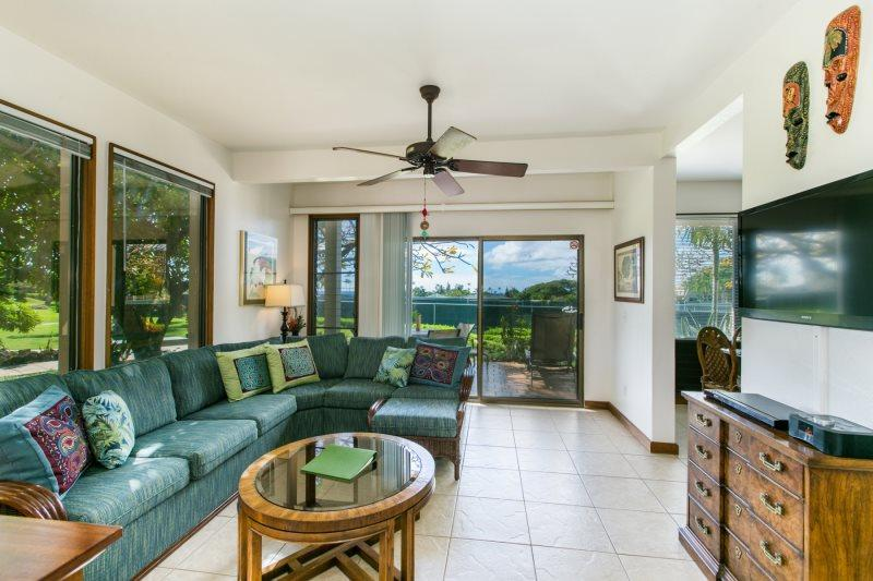 Living Room - Kahala 214 Partial Ocean View, 2bd/2baths. Great Location! Free Mid-size Car. - Koloa - rentals