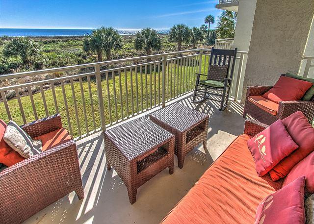 Patio/View - 206 Shorewood -Direct Oceanfront and Fully Renovated, Zero Entry & Kiddy Pool - Hilton Head - rentals