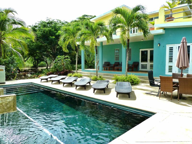 Our beautiful pool deck is the center of activity at Casa Tolteca! - Casa Tolteca- Stylish Modern Villa with Pool/Views - Isla de Vieques - rentals