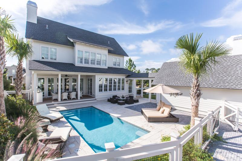Large private pool and veranda area with loungers, seating area and outdoor dining - 224 GULF BRIDGE LANE - Watersound Beach - rentals