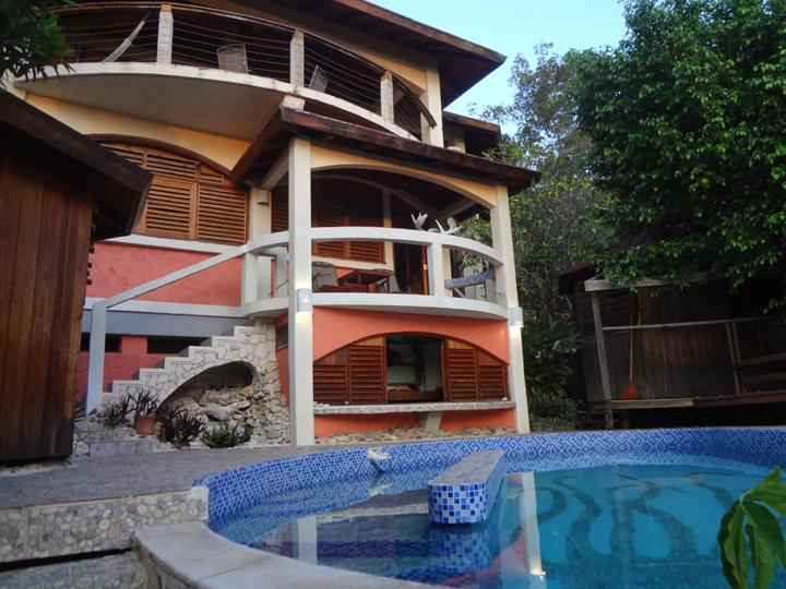 Front view of villa from the pool. Owner/artist/designer built. - Jim's Place - Jamaica - south west coast. - Savanna La Mar - rentals