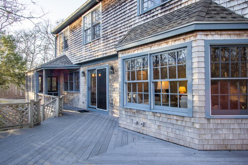 Summer Deck, entry into dining area, owner will have deck furniture for summer 2016 - MONEE - Outstanding Edgartown Vacation Home,  Spacious Coastal Decor Interior - United States - rentals