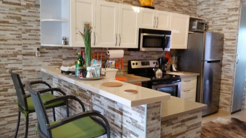 Newly renovated fabulous modern kitchen.  Every small appliance!  Feel at home! - 5-STAR MODERN EAGLE BEACH CONDO AT GREAT RATES - Eagle Beach - rentals