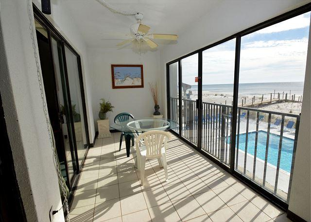 Glass Enclosed Balcony - Gulf Tower 1C ~ Great Studio Enclosed Balcony ~ Bender Vacation Rentals - Gulf Shores - rentals