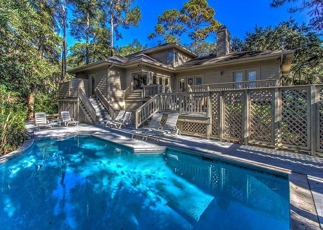 Poolside Exterior - 6 Painted Bunting-3rd Row Ocean (50 yards to the beach) - Hilton Head - rentals