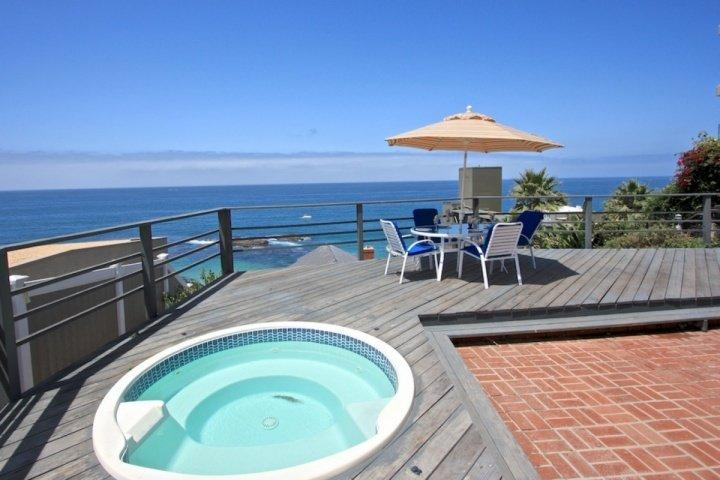 Ocean View Deck with jacuzzi and dining - Laguna Beach Coastal Cottage - Laguna Beach - rentals