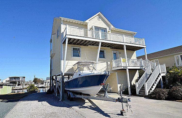 Street Side Exterior - Beach Ball - Stunning Water View, Canal Front, Boat Ramp & Dock, Near Ocean - Surf City - rentals