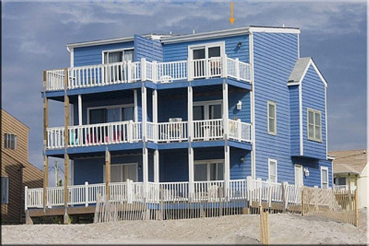 Ocean Side View of Blue House - Blue House -True Oceanfront, Unobstructed View. - North Topsail Beach - rentals