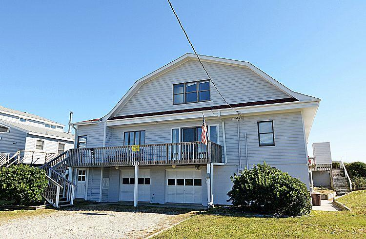 Exterior Front - Barnacle - Fantastic View, Pet Friendly, Spacious Deck, Oceanfront Access - Topsail Beach - rentals