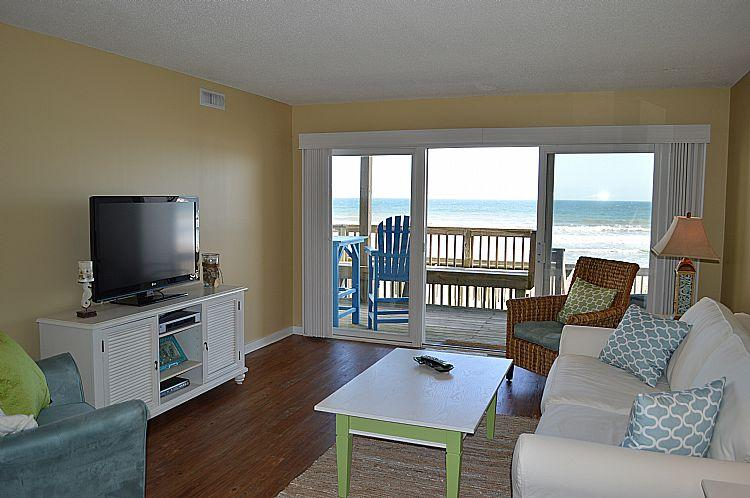 Living Room, View 01 - Queen's Grant E-115 - Dynamic Oceanfront View, Pool, Hot Tub, Boat Ramp & Dock - Topsail Beach - rentals