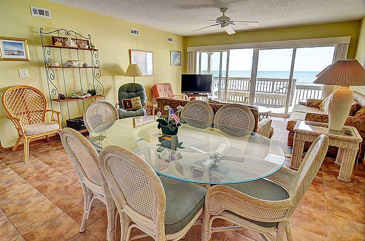Great Room (living & dining) - Queen's Grant B-107 - Dynamic Oceanfront View, Pool, Hot Tub, Boat Ramp & Dock - Topsail Beach - rentals