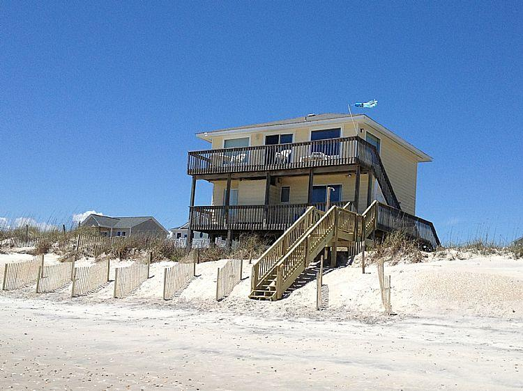 House from Beach - Sanderling - Entrancing Oceanfront View, Simple Coastal Design, Peaceful Area - North Topsail Beach - rentals