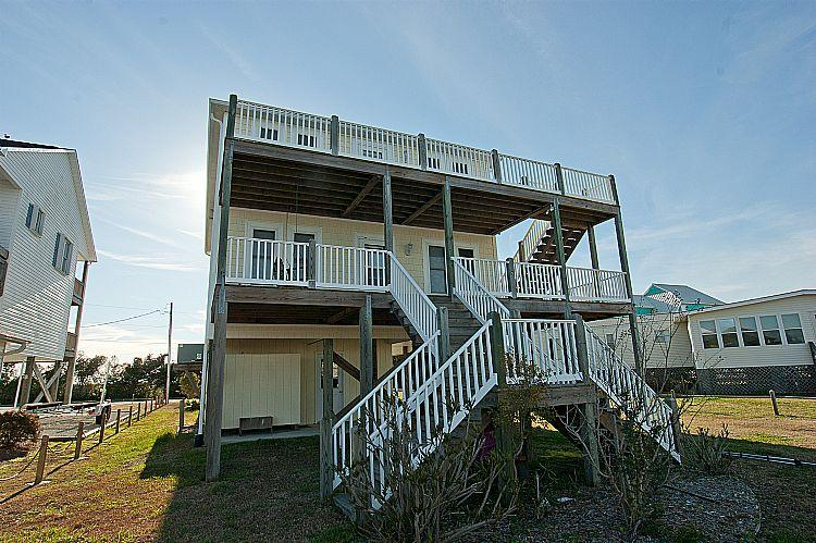 Canal Side view of Three Seasters - Three Seasters -  Gorgeous Water Views, Canal Front, Boat Ramp & Dock, 2 Full Kitchens! - Surf City - rentals