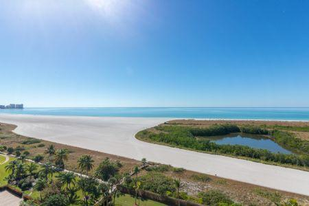 Beach view from balcony - Stunning - newly remodeled beachfront Condo in pristine Resort on the Gulf of Mexico - Marco Island - rentals