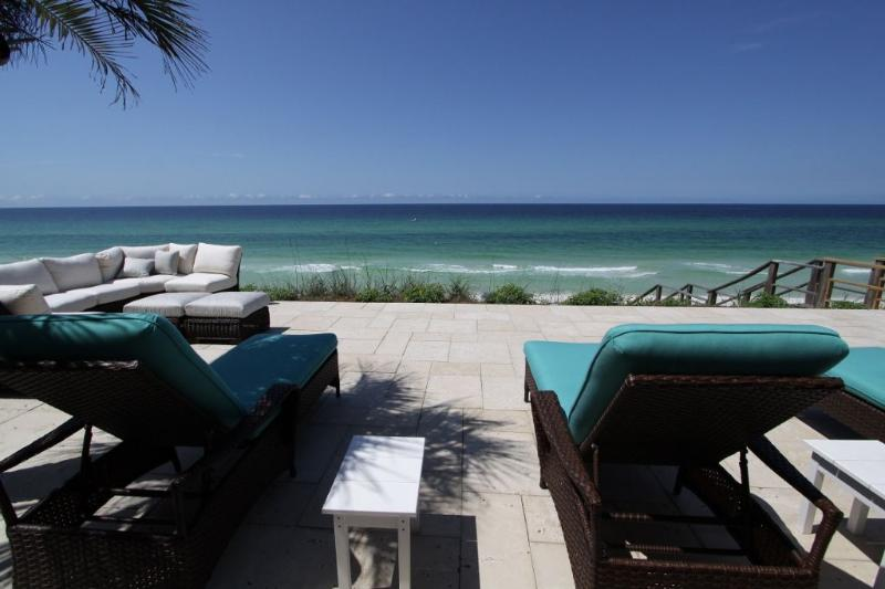 Gulf Front Deck With Travertine Tiles - Fountain Blue - Seagrove Beach - rentals