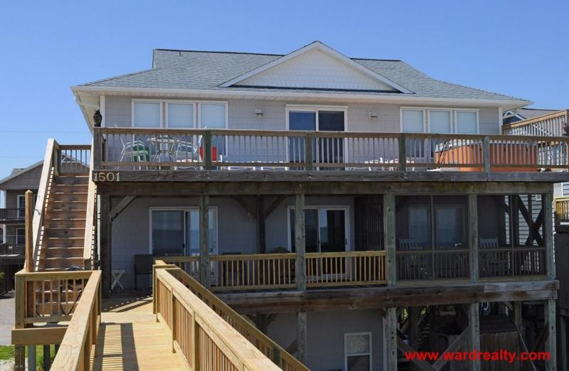 Oceanfront Exterior - Large Oceanfront Home with Hot Tub and Views, Views, Views! - 4 Reel - Topsail Beach - rentals