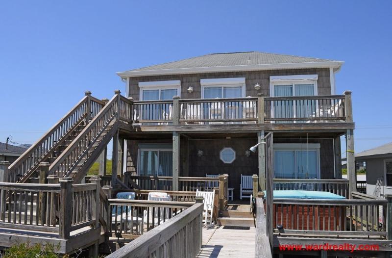 Oceanfront Exterior - Kickin' Back - Topsail Beach - rentals