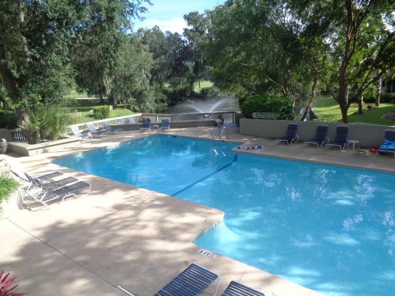 The Beautiful pool with several decks overlooks a fountain in the lagoon. - BEAUTIFUL Golf View Villa! Tranquil/Private! Tennis/Beach! Sept/Oct Open! - Hilton Head - rentals