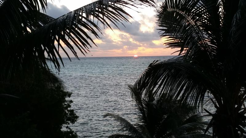 Sunrise from the balcony.  The beginning of another day in paradise! - Beachfront Luxury Condo - Paradise Found! - San Pedro - rentals
