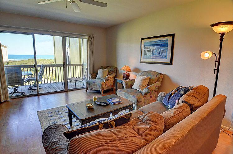 Living Room - Surf Condo 223 -  Scenic Ocean View, Pool, Beach Access, Onsite Laundry - Surf City - rentals