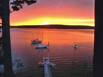 view of sunset from the cottage - Linekin Log Cabin East Boothbay - Boothbay - rentals