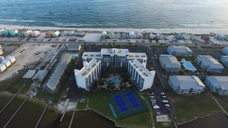 Aerial View of the PERFECT location for the Private Beach and Lagoon!!!  Awesome Amenities! - 405-B Private Beach, SPA Bath, Lagoon, Lush Pool - Gulf Shores - rentals