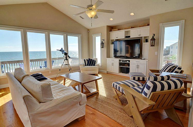 Living Room - Bel Mare - Stunning, Luxurious and Modern Oceanfront home - Surf City - rentals