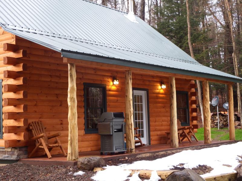 Cabin Porch overlooking Waterfalls. - Adirondack Waterfalls Cabin Bran new - Glenfield - rentals