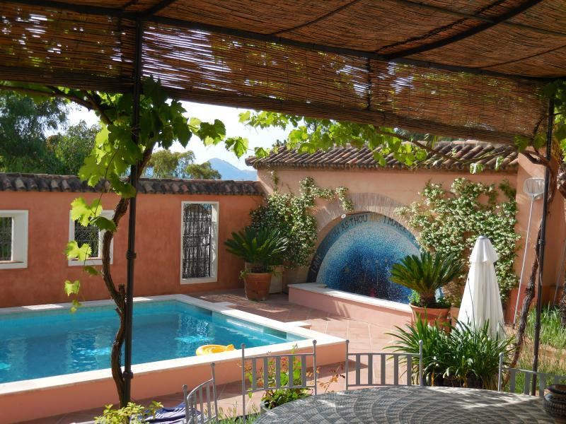 Shady terrace on a hot day. - Magical village property with large pool & garden. - Gaucin - rentals