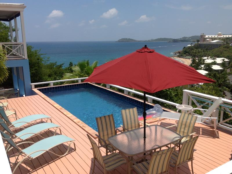 Private pool 5 ft deep, 11\' x 25\'. Chairs, Tables, Gas Grill - CalypsoBlu - Private Oceanview Villa with Pool - South Side - rentals