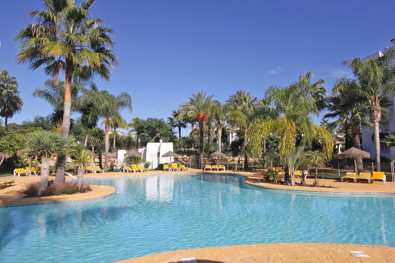 amazing pool area with tropical feeling and sunloungers in a beachside urbanization - Beachfront High Standard Apartment Hugh Pool Area - Marbella - rentals