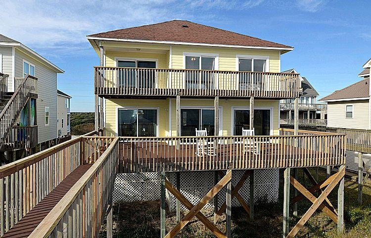 Exterior Back - Flip Flops - FALL SAVINGS!! Fantastic Oceanfront View, Adorable Decor, Beach Access - North Topsail Beach - rentals