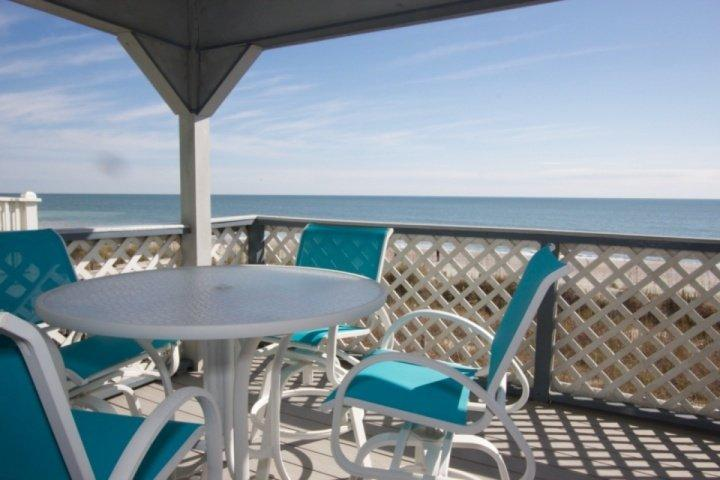 Enjoy great ocean front views from this covered deck. - South Shores II 101 - Surfside Beach - rentals