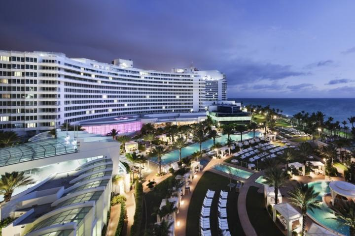 Aerial view of the Fontainebleau Hotel. - CONTACT US FOR PRICING - Oceanfront Suite at the Famous Fontainebleau Miami - Miami Beach - rentals