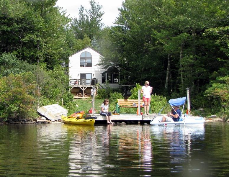 View of house from lake. - Lakefront Contemporary- Fire Place, Dock, Boats... - Tobyhanna - rentals