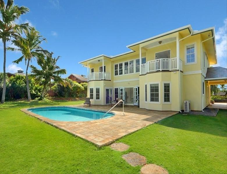 View of rear of house including pool - Poipu Pool House- 5br home close to beach - Koloa - rentals