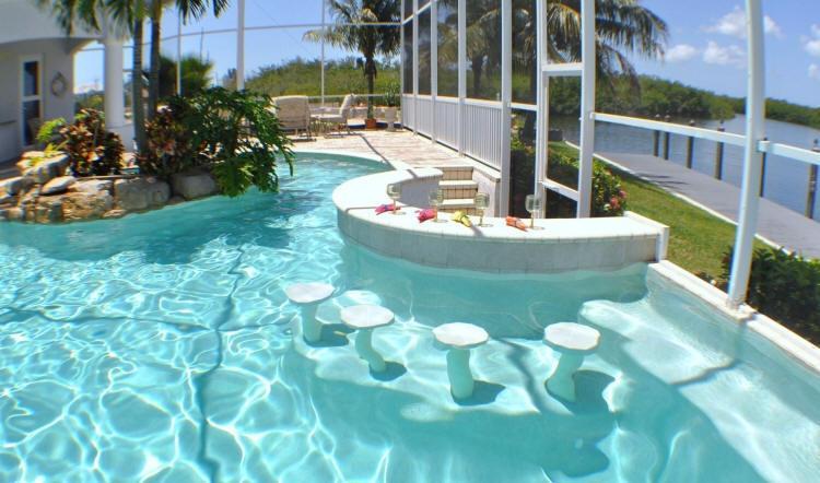 Pool with swim-up bar :-)  - Villa Sun Castle - Expansive Luxury Estate - Cape Coral - rentals