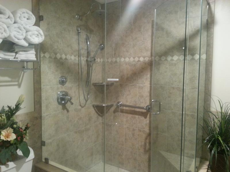 Master Shower with handicap bars and seat. - Seaside at Anastasia Island Condo at St. Augustine - Saint Augustine - rentals