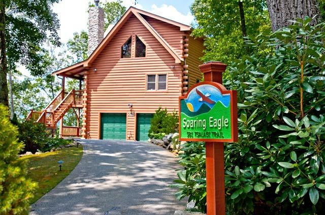 Entrance to Home in Gated Community - Luxury Vacation Log Home In the Smokies - Maggie Valley - rentals