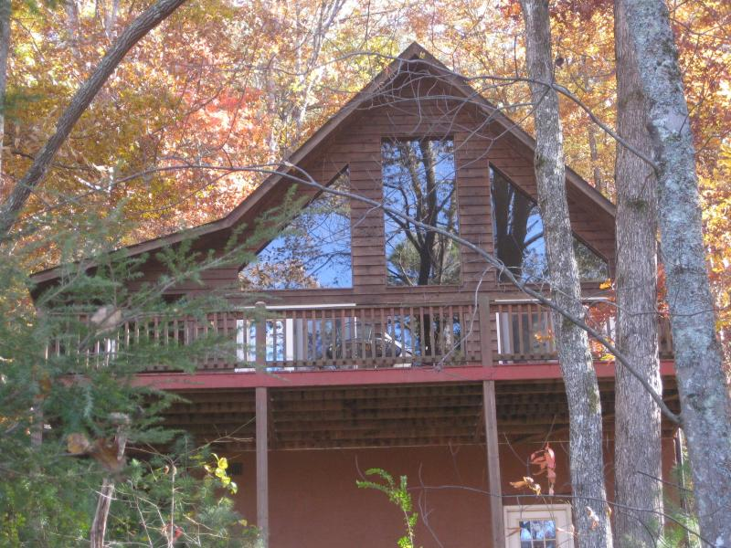 Front view of chalet style cabin.  Surrounded by beautiful foliage. - Murphy NC Cabin with free wi-fi - Murphy - rentals