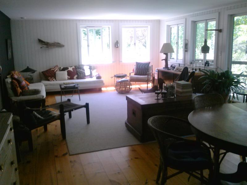 Living room is open and bright during the day. - Casual 60's Style West Falmouth Family Home - West Falmouth - rentals