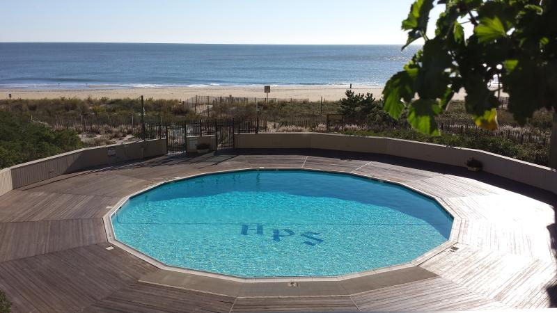 New pool 2015,  view from balcony. - Beachfront 1st Floor Condo - 3 Steps to Beach/sand - Ocean City - rentals