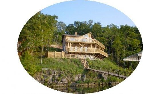 Pelican Point Log Home Exterior View - Poco Risco Lakefront Log Homes Lake of the Ozarks - Lake of the Ozarks - rentals