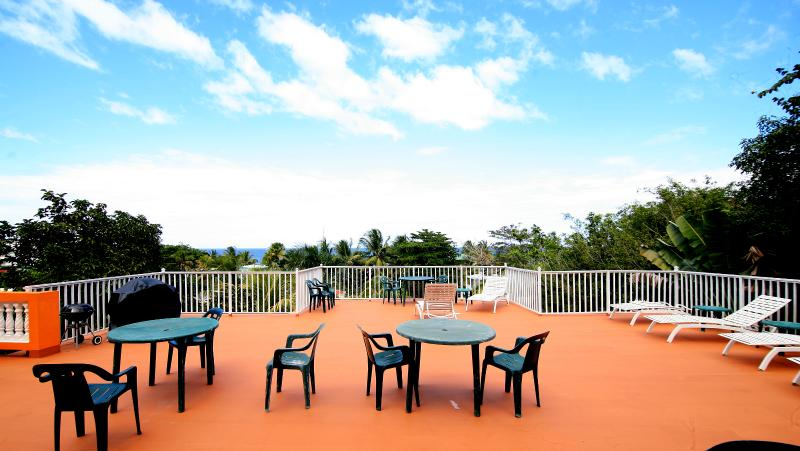 Roof-top terrace with lounge chairs, tables, and BBQ grill. - Casa Bianca Sandy Beach for Small or Large Groups - Rincon - rentals