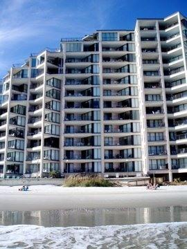 View of building from the Beach - Beautiful Oceanfront Condo in Myrtle Beach SC area - Garden City - rentals