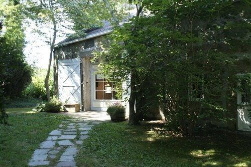 entrance with Dogwoods - Remodeled Stone Barn & panoramic salt marsh view - Falmouth - rentals