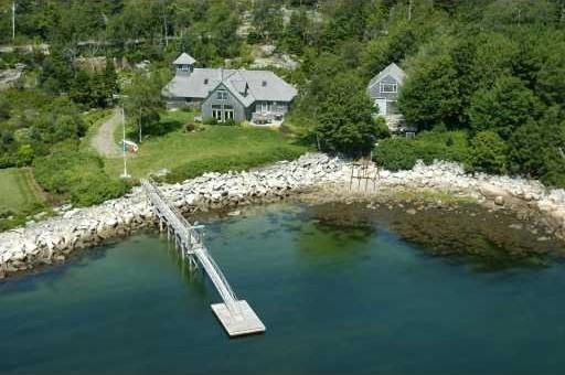"Aerial View - ""Lighthouse Lookout"" - Oceanfront- Rackliff Island - Spruce Head - rentals"