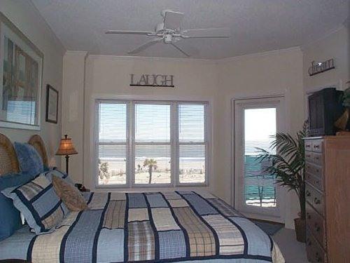 Oceanfront master bedroom with king bed, balcony - Ocean-front Luxury 3 BR Condo, Spectacular Views - Tybee Island - rentals