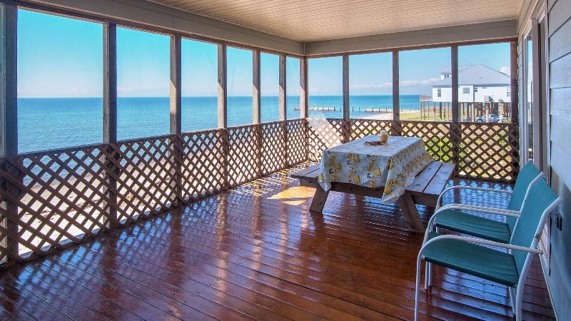 screened deck view of Gulf - Oceanfront -life is so much different at the beach - Ocean Springs - rentals