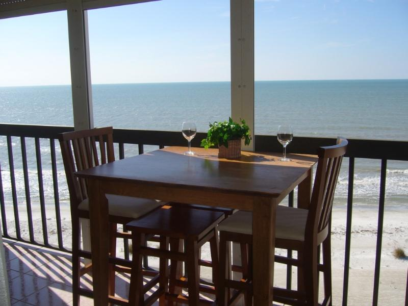 Balcony off Master Bedroom and Living Room - Beachfront Oceanview Condo-Only by the Month - Indian Rocks Beach - rentals